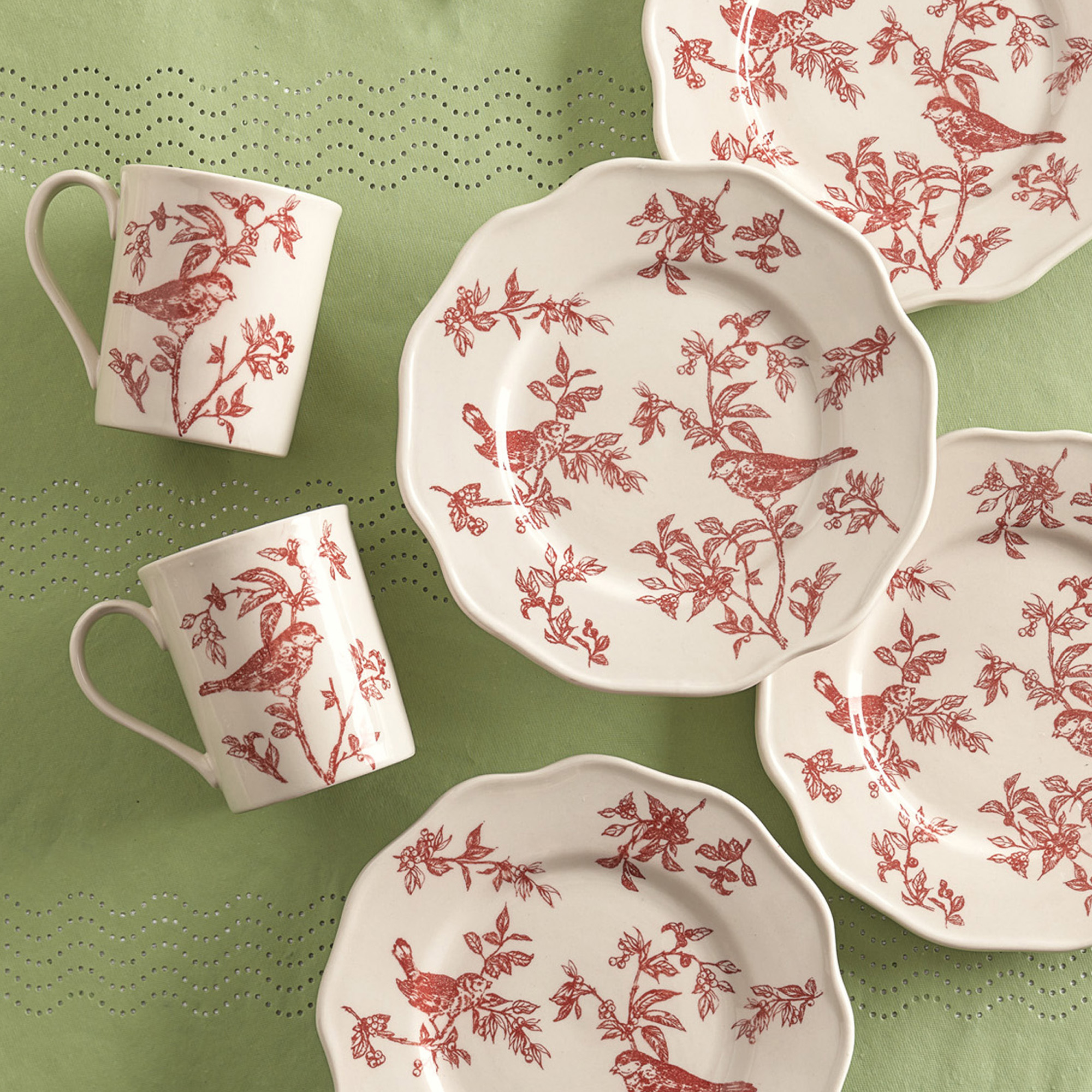 Red Toile Dessert Plates, Set of 4