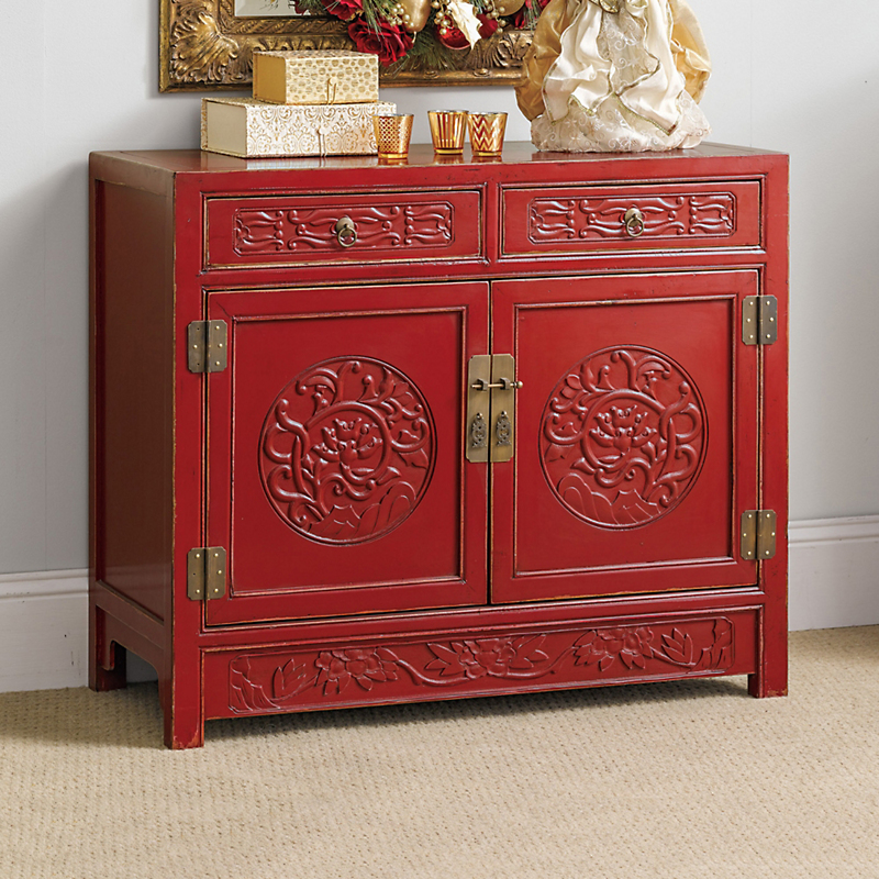 Shanghai Carved Cabinet, Red