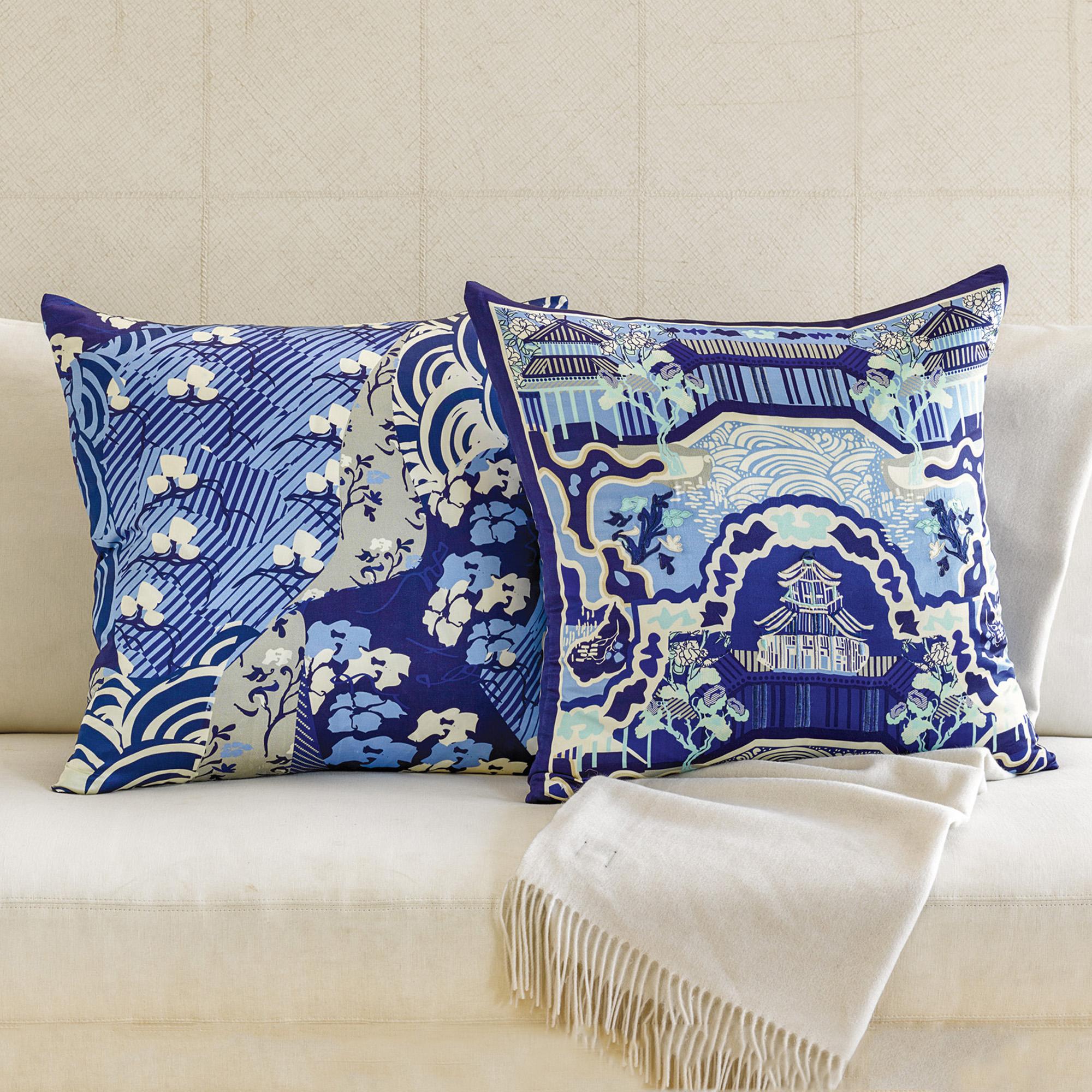 Throw Pillows Home : Blue Canton Silk Pillows Gump s