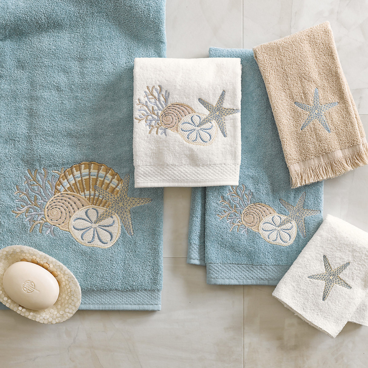 Seashore Embroidered Towels