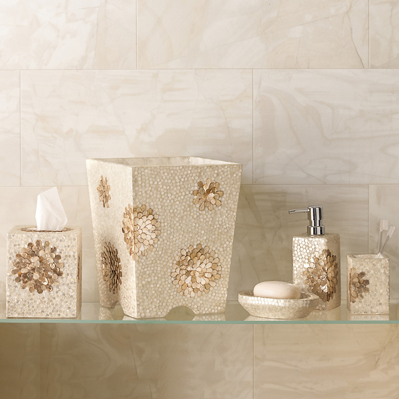 Chrysanthemum capiz bath accessories gump 39 s - Capiz shell bathroom accessories ...