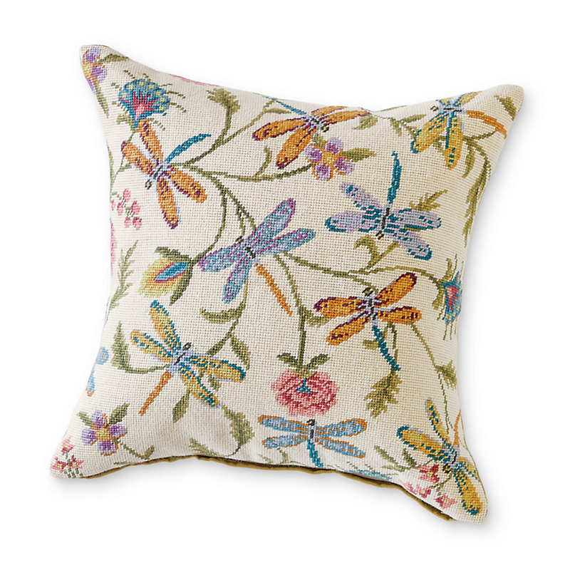 Dragonfly Needlepoint Pillow