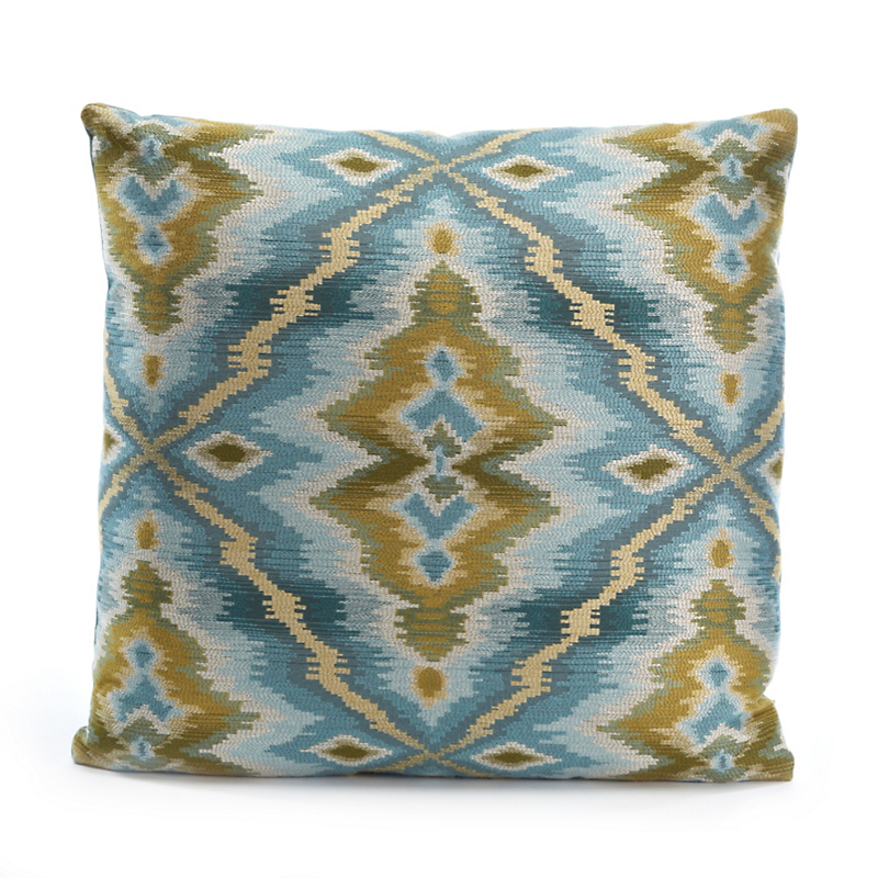 Oceana Blue-Green Ikat Pillow