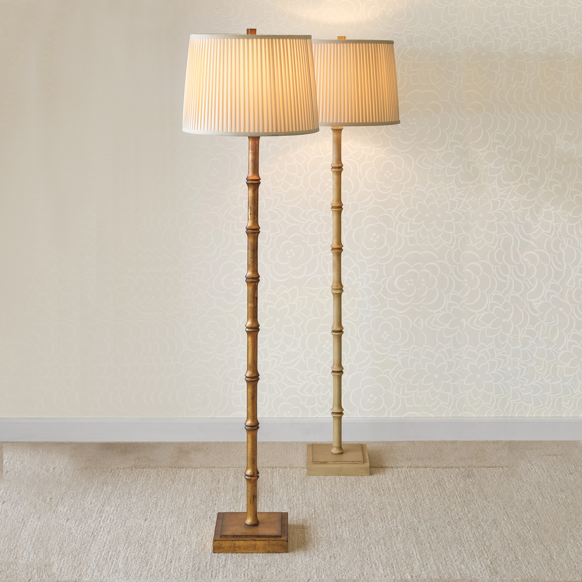 Bamboo Floor Lamp, Antique Ivory