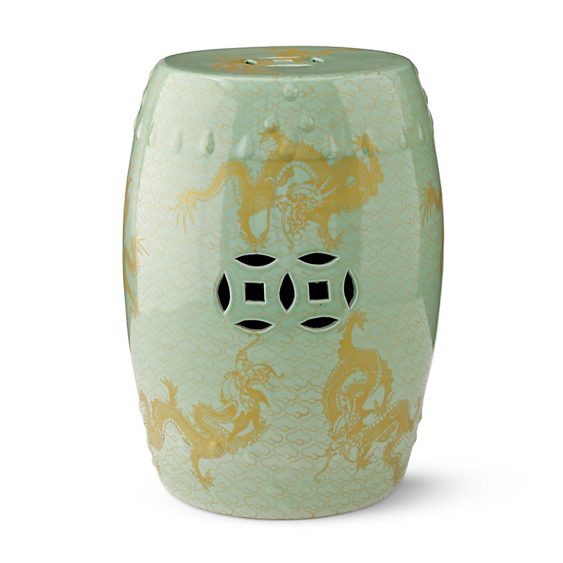 Imperial Dragon Garden Stool, Celadon