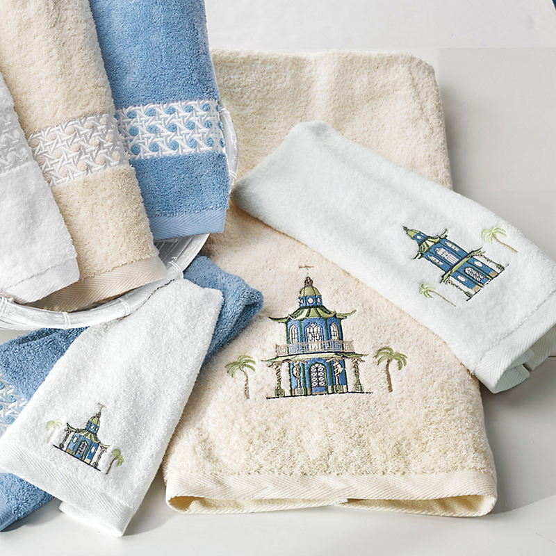 Embroidered Tropical Pagoda Towels