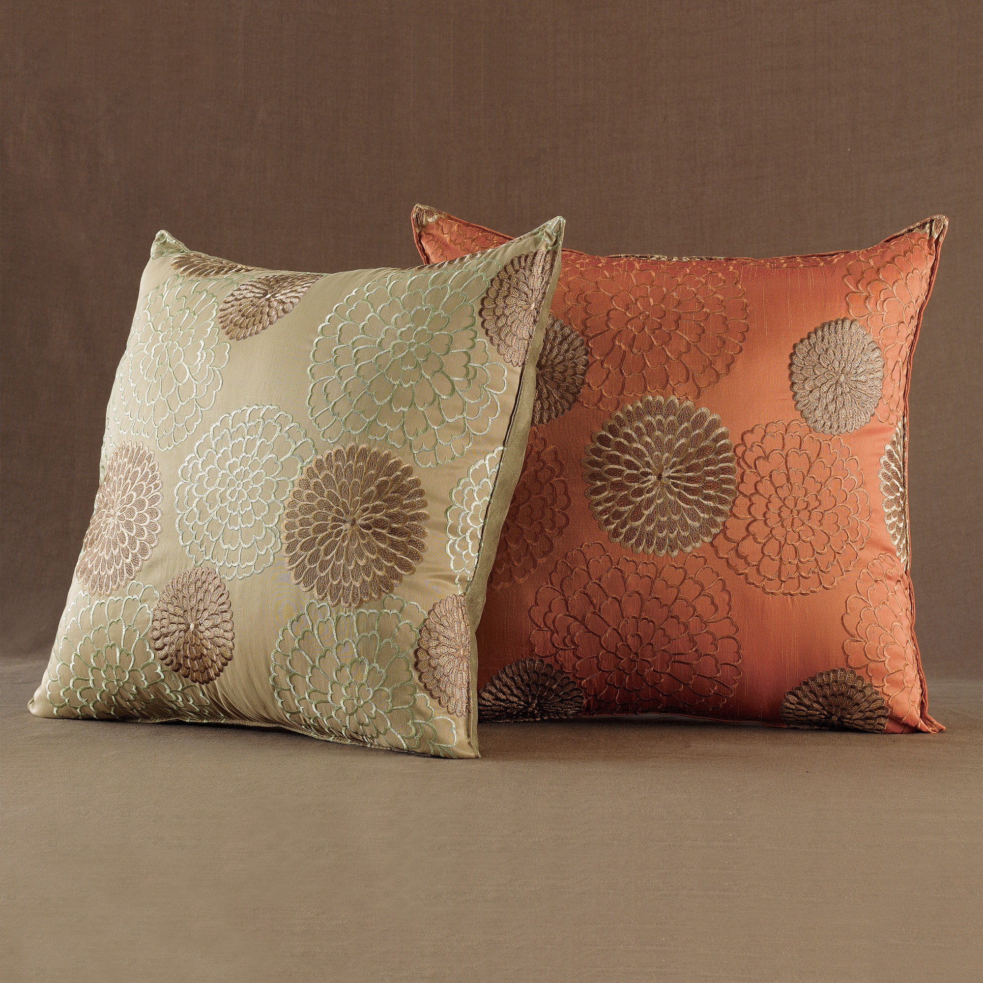 Throw Pillows Home : Chrysanthemum Square Pillows Gump s