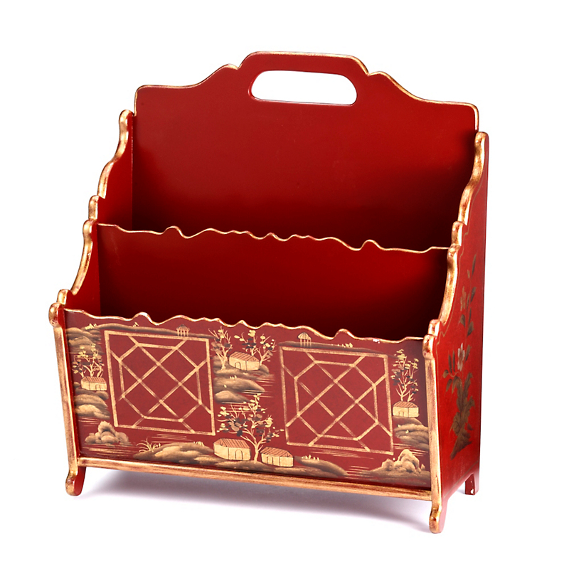 Chinoiserie Magazine Holder, Red