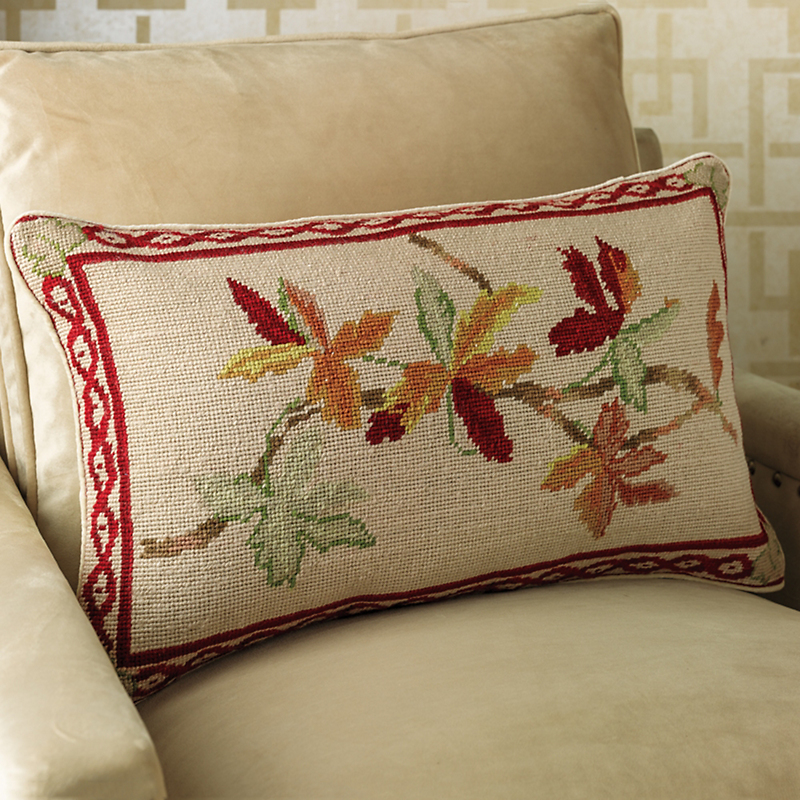 Autumnal Leaves Needlepoint Pillow