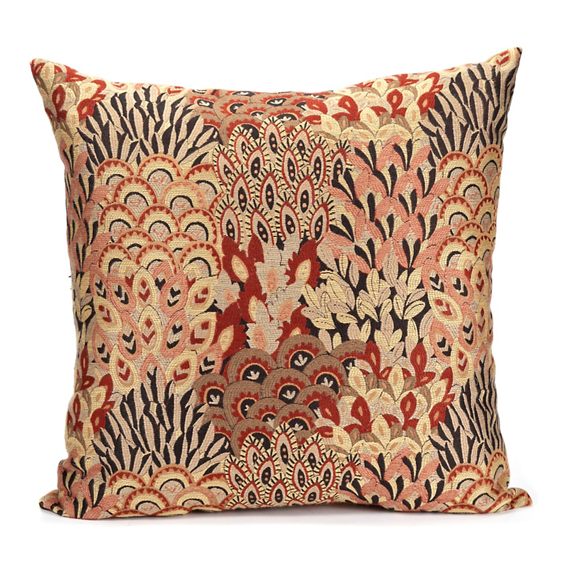 Red Peacock Feather Pillow