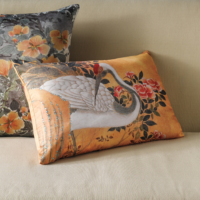 White Crane Pillow