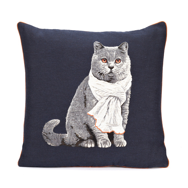 Gray Cat Tapestry Pillow
