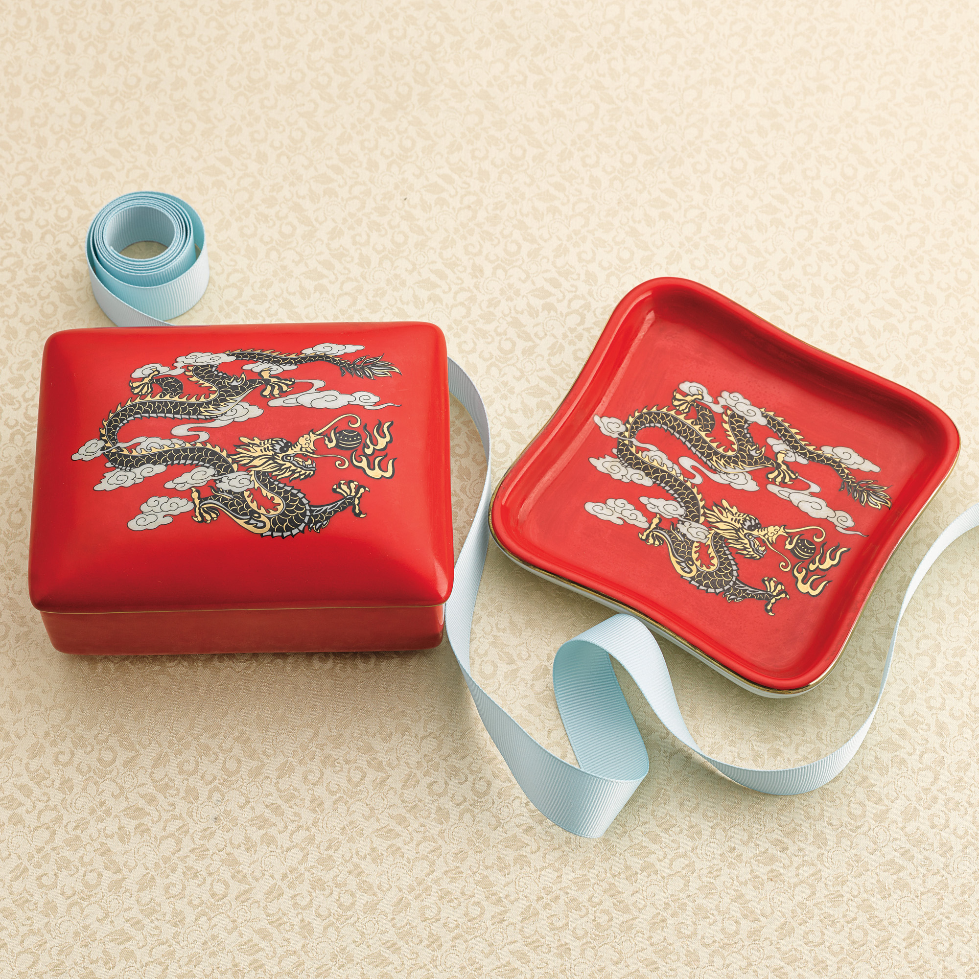 Porcelain Dragon Box & Tray