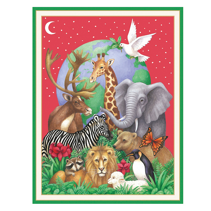 Caspari Personalized Peace Animal Kingdom Cards