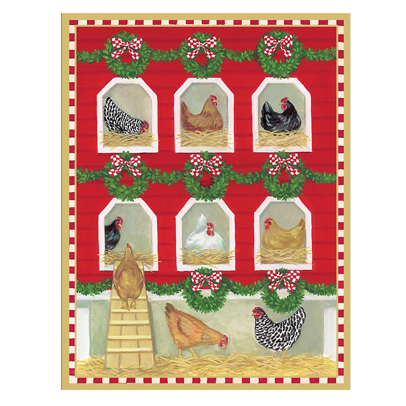 Caspari Personalized Christmas Chicken Coop Cards