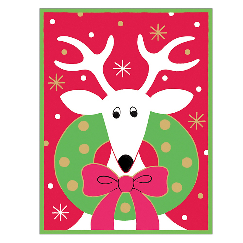 Caspari Personalized Deer With Wreath Cards