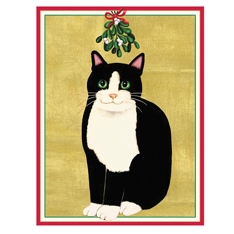 Caspari Personalized Cat & Mistletoe Cards
