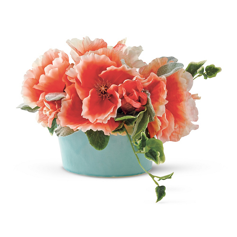 Poppy In Aqua Pot Arrangement