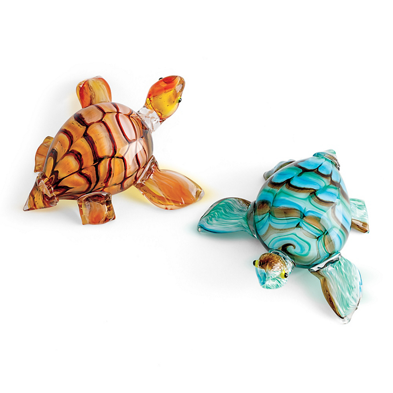Art Glass Sea Turtles, Orange and Red