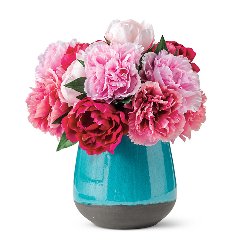 Pink Peonies In Turquoise Vase