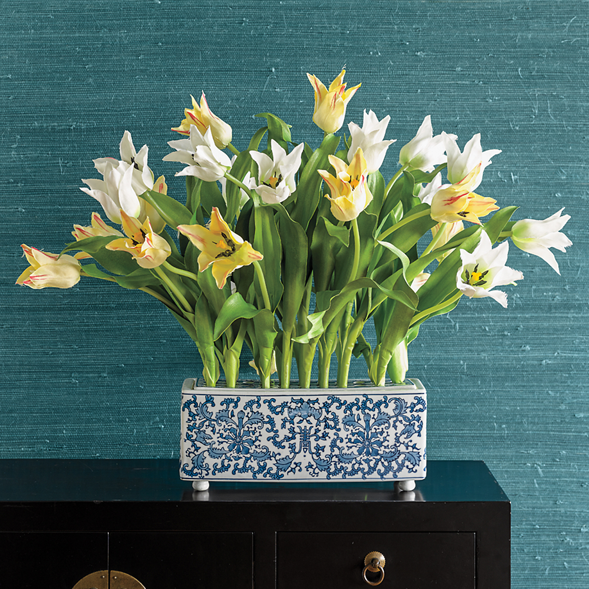 Yellow Tulips In Blue White Container Gumps