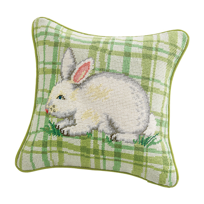 Spring Bunny Needlepoint Pillow