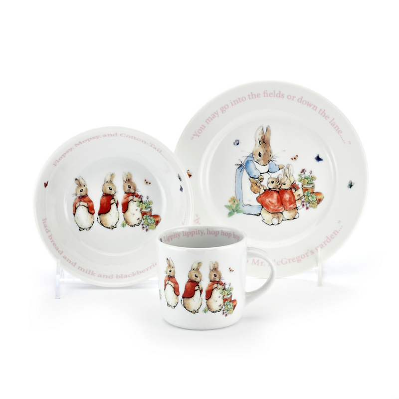 Wedgwood Peter Rabbit Children's Set, Pink