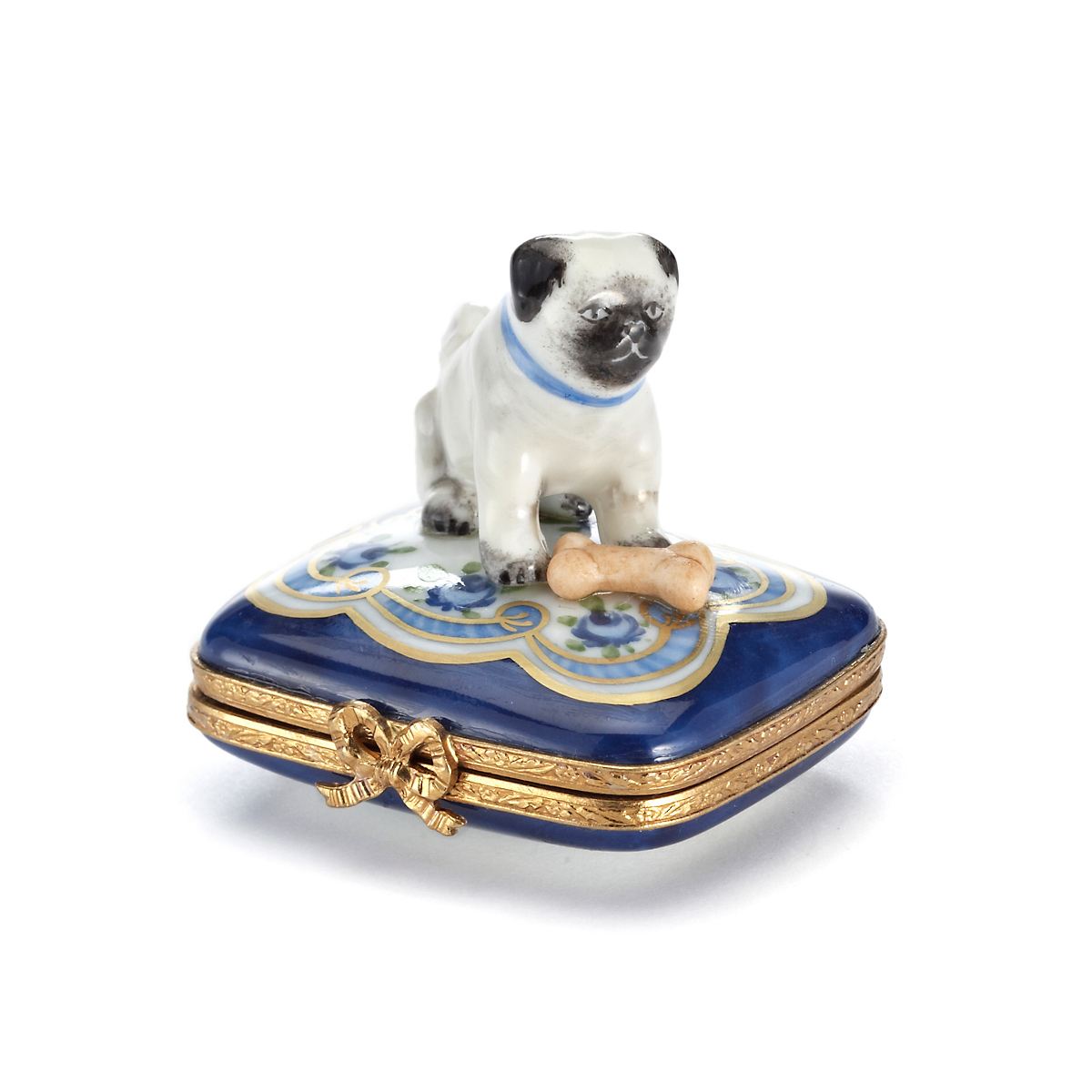 Limoges Pug Dog With Bone