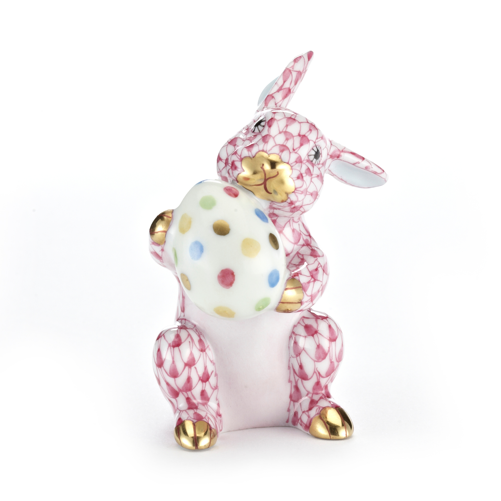 Herend Easter Bunny with Egg, Raspberry