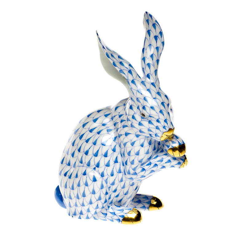 Herend Bunny Paws Up, Blue