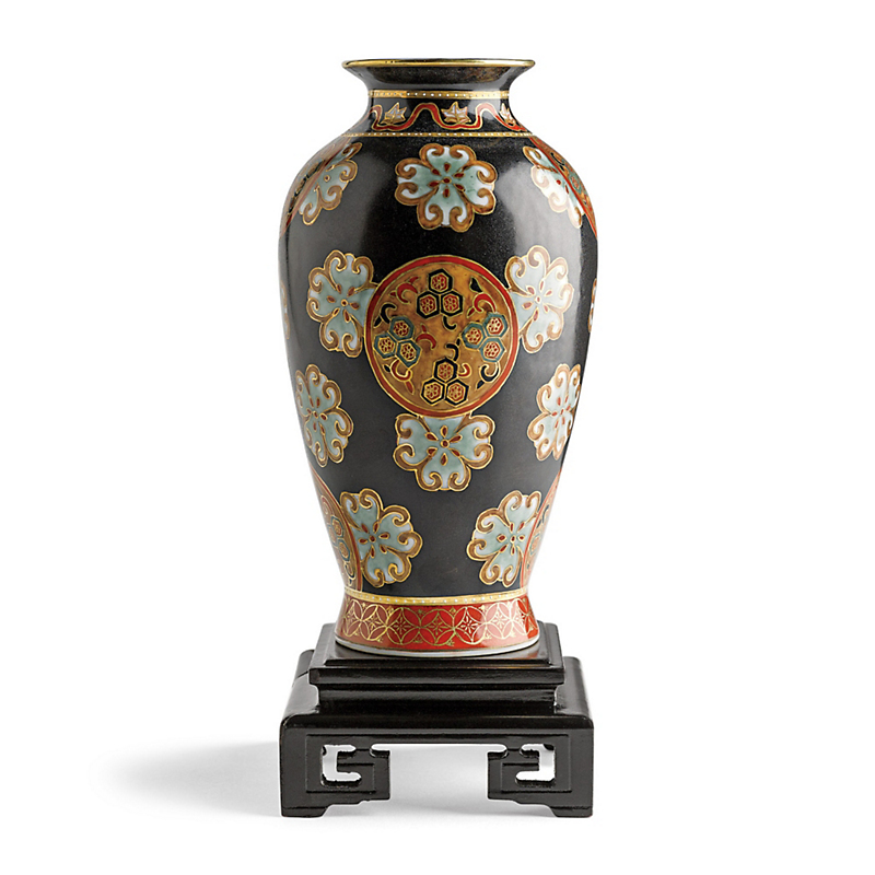 Black Medallion Vase