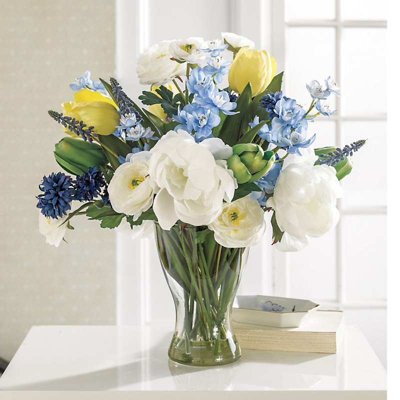 Blue Wildflower & Yellow Tulip Bouquet