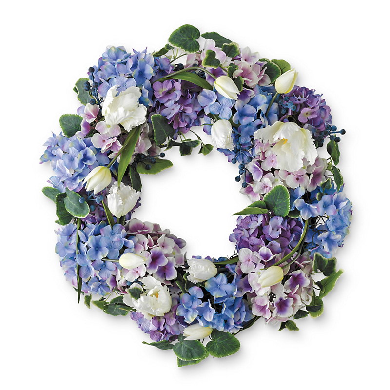 Blue Hydrangea & White Tulip Wreath