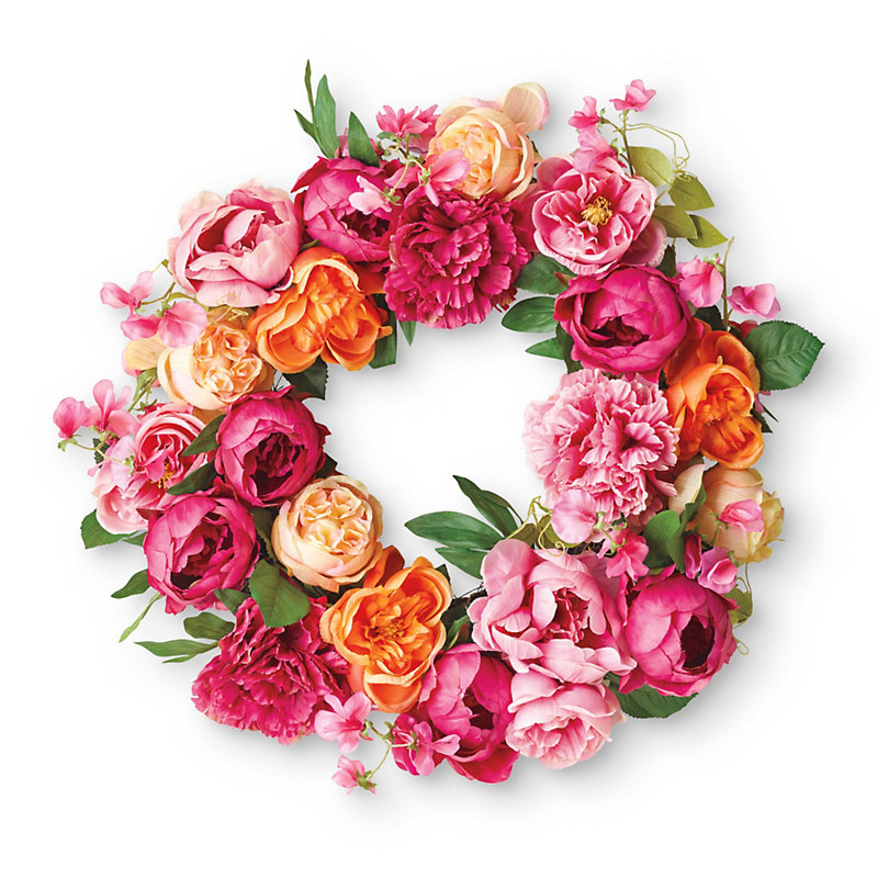 Coral Rose Wreath