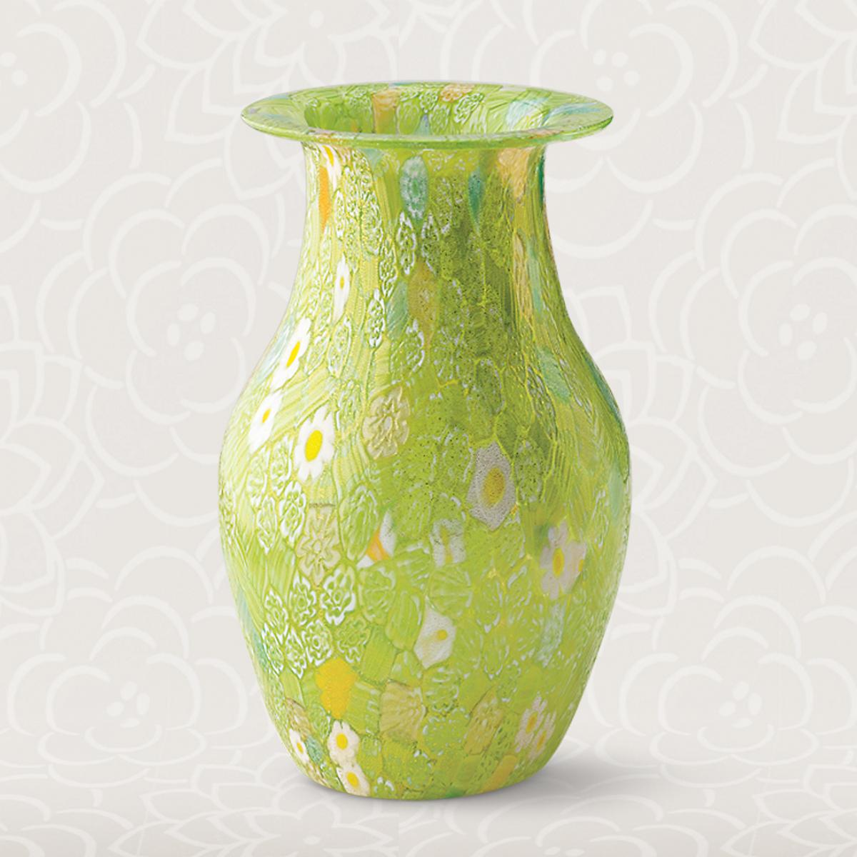 Murano Green Millefiori Vase Gumps