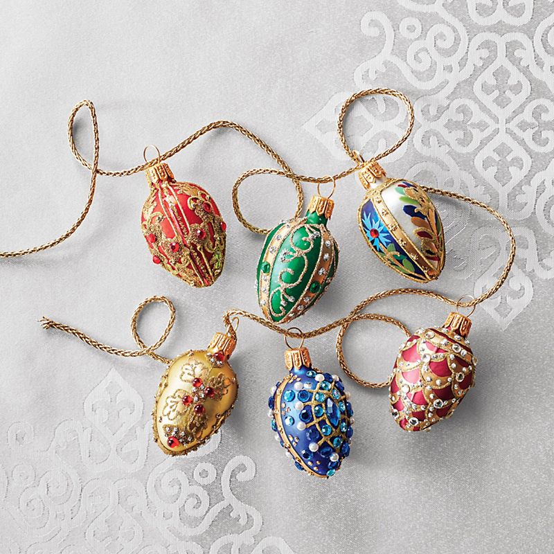 Bejewelled Egg Christmas Ornaments, Set Of 6