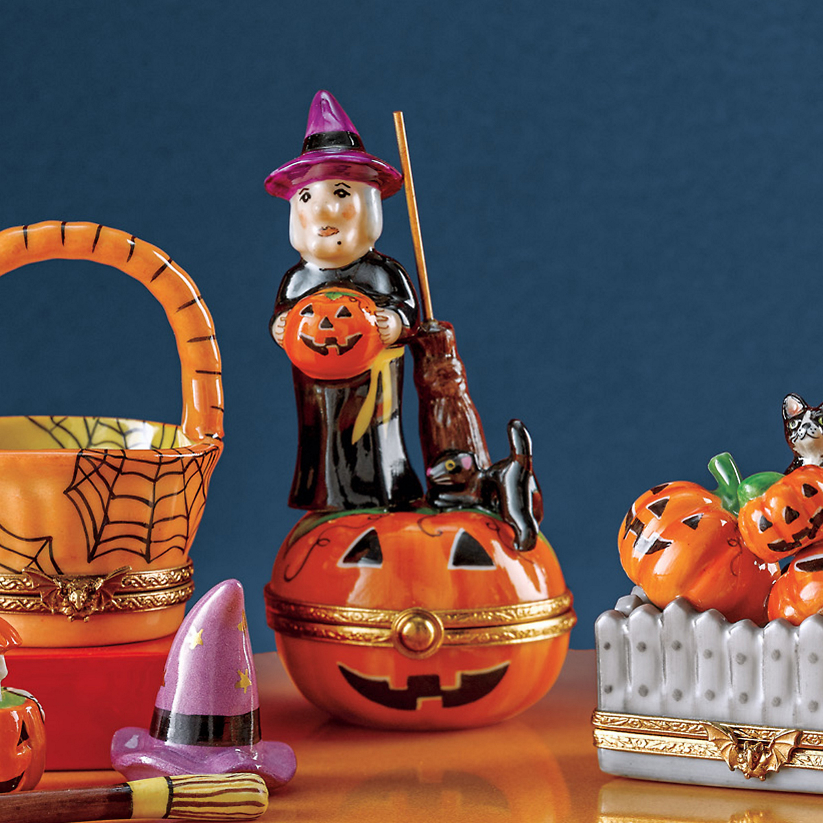Limoges Witch On Pumpkin