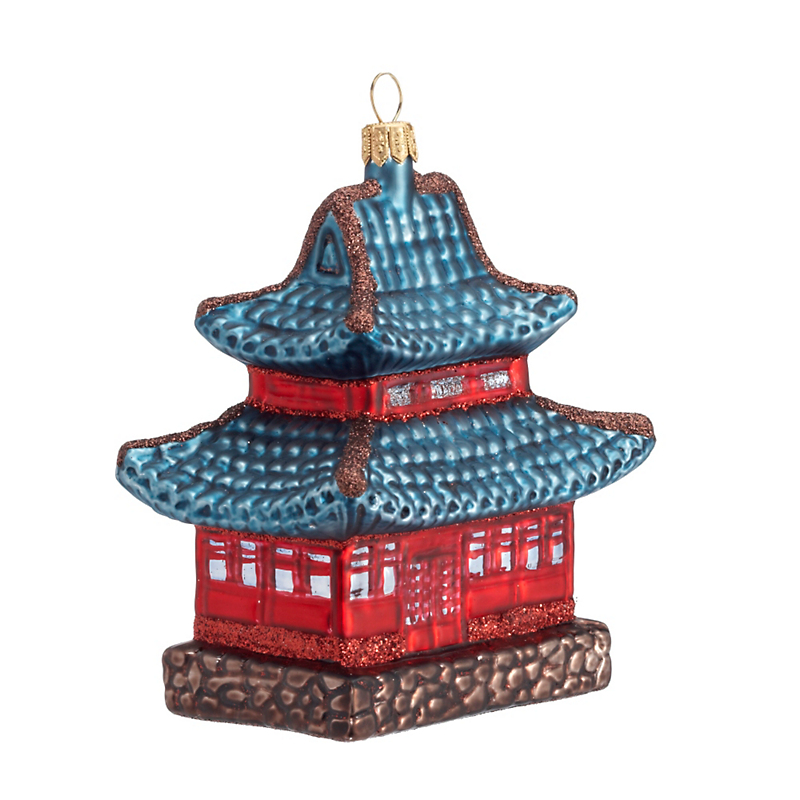 Red & Blue Pagoda Christmas Ornament