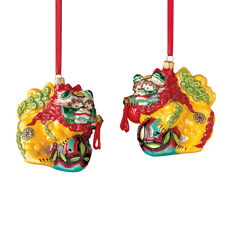 Ceremonial Foo Dog Christmas Ornaments, Set Of 2
