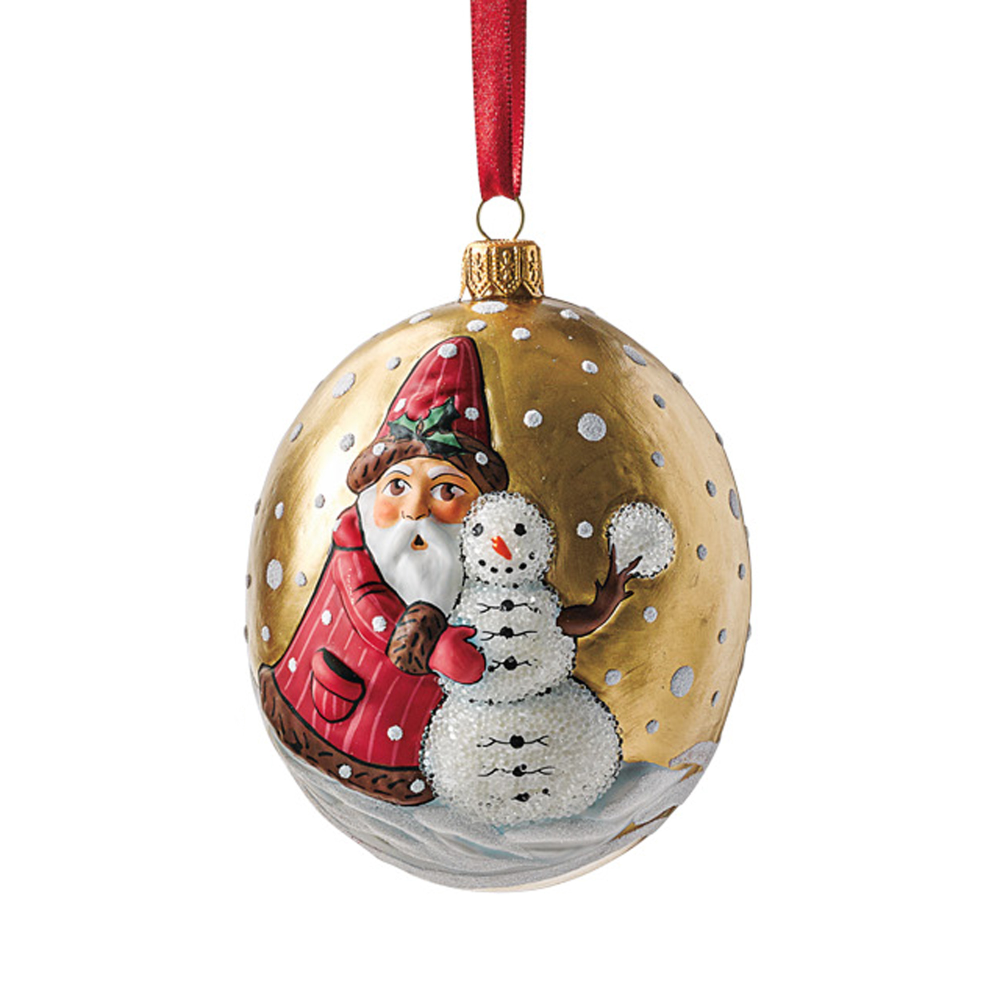 Vaillancourt Santa With Snowman Christmas Ornament | Gump\'s