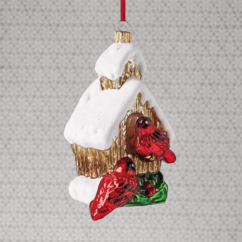 Cardinal Birdhouse Christmas Ornament