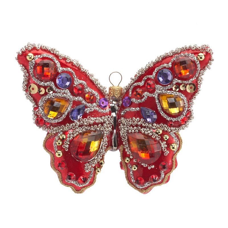 Tropical Paradise Butterfly Christmas Ornament, Red