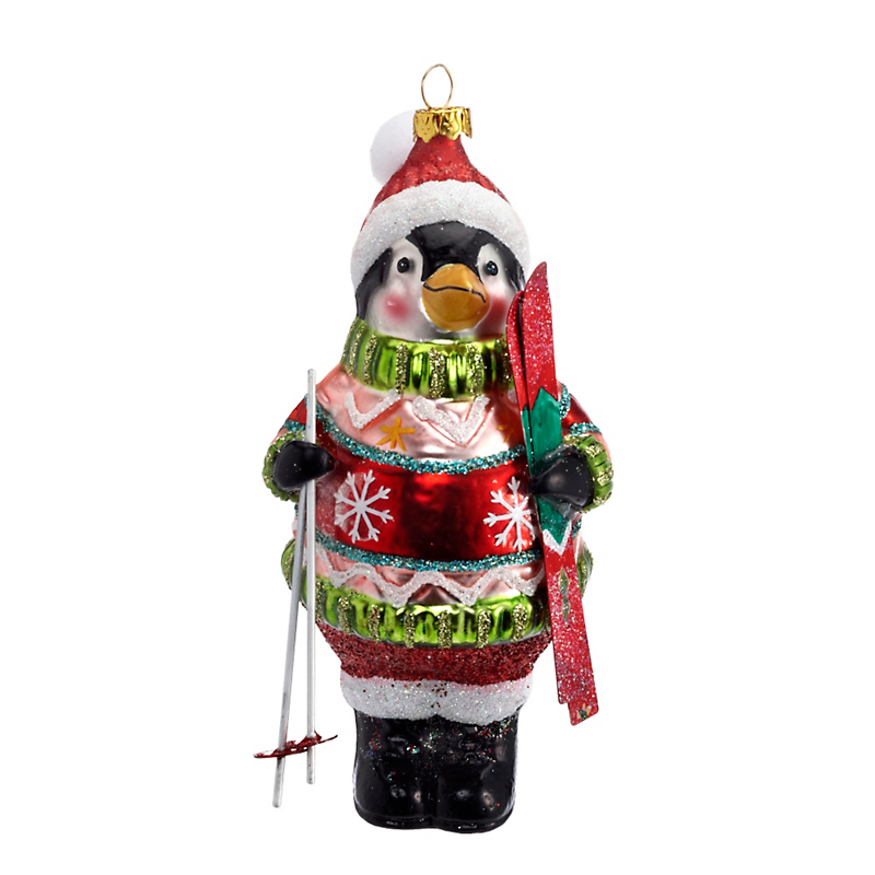 Skiing Penguin Christmas Ornament