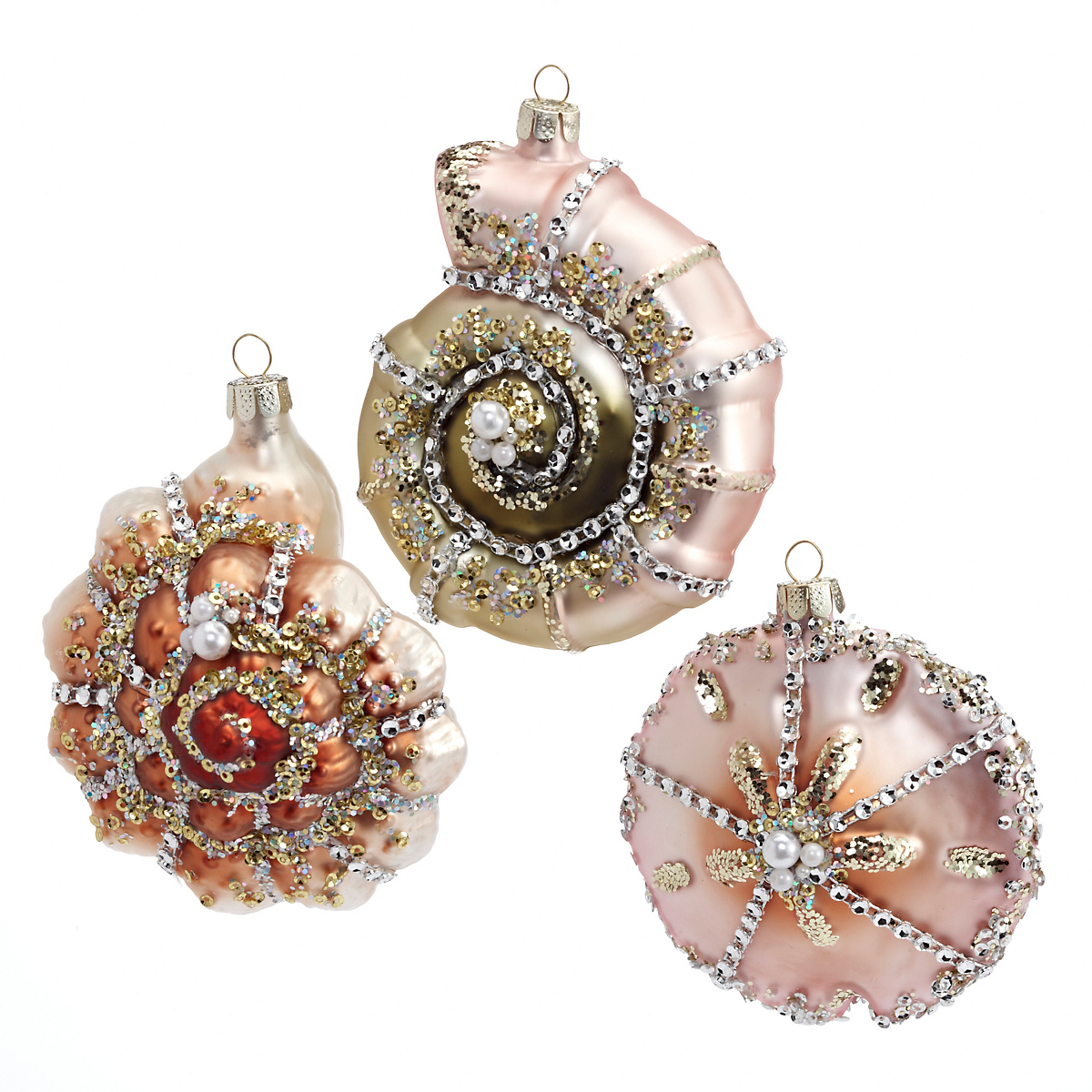 Bejeweled shell christmas ornaments set of gump s
