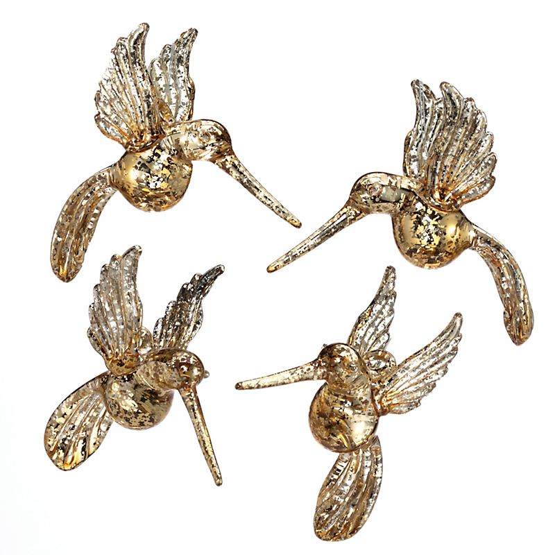 Golden Hummingbird Christmas Ornaments, Set Of 4