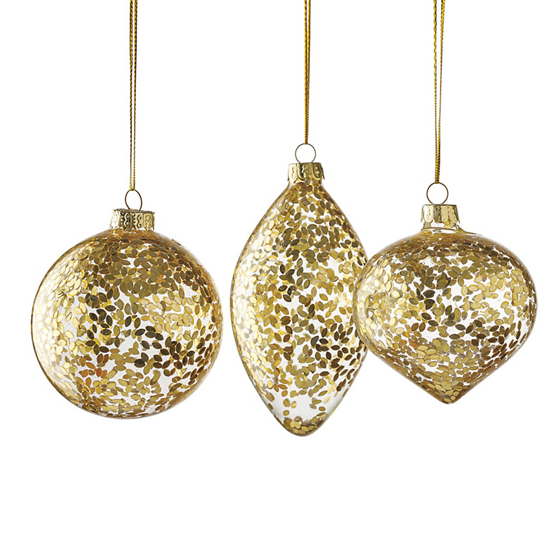 Golden Glitter Christmas Ornament Set