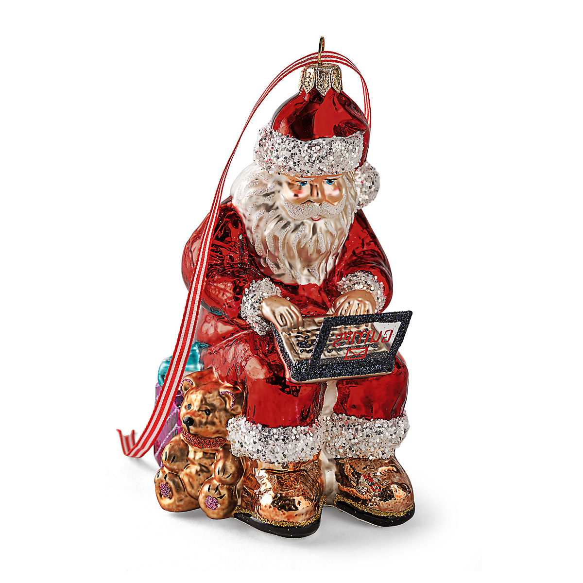 Santa With Laptop Christmas Ornament