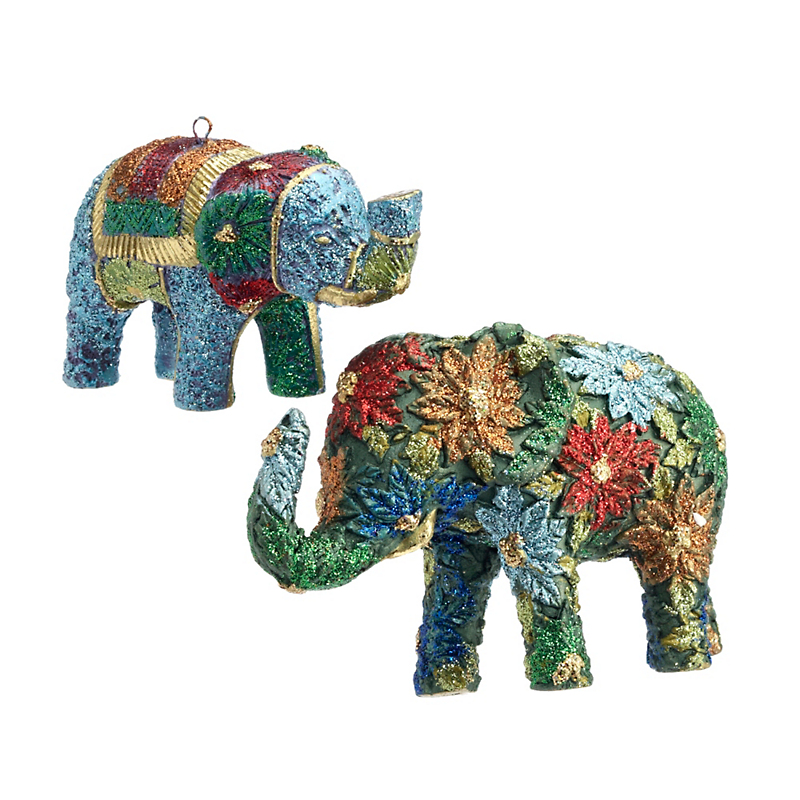 Whimsical Elephant Christmas Ornaments, Set Of 2