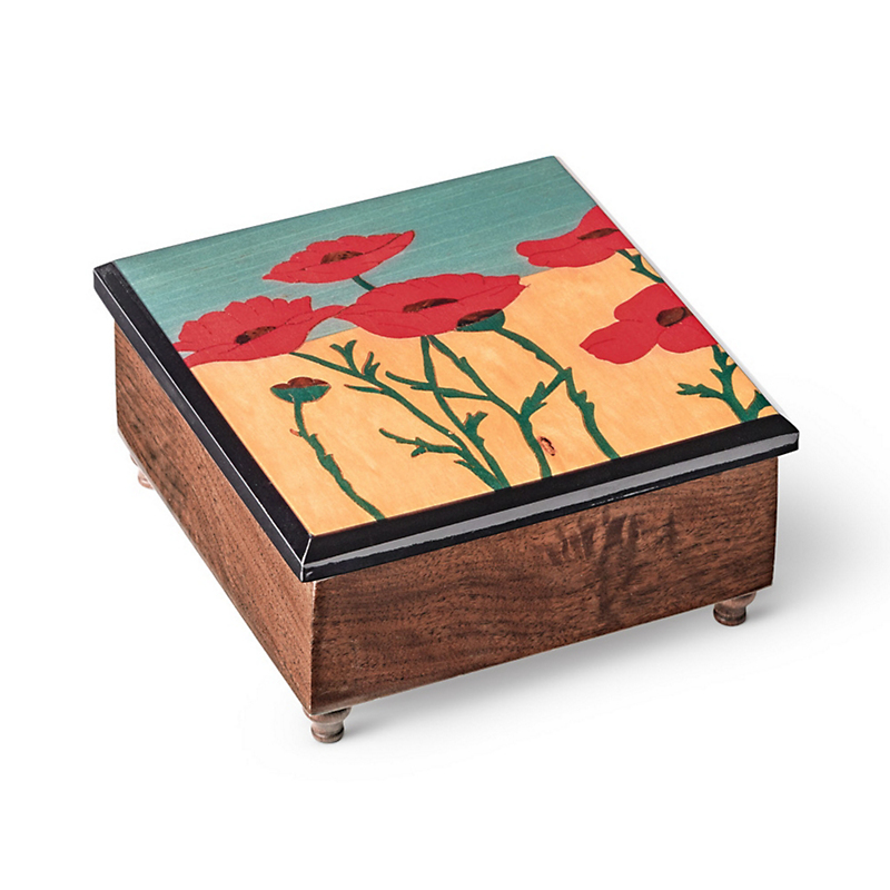 Red Poppies Music Box
