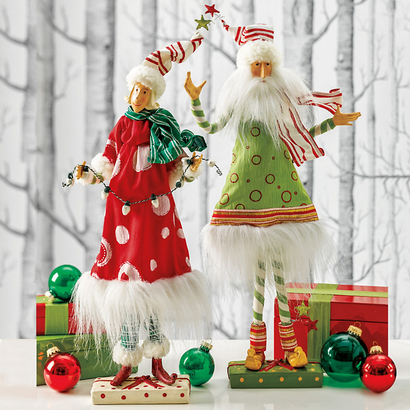 Mr. & Mrs. Claus Handcrafted Figures